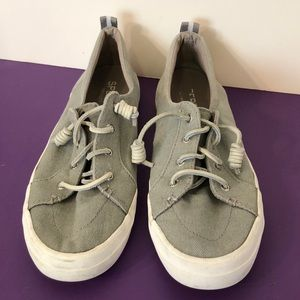 Sperry Topsider size 9 1/2 gray boat shoes EUC